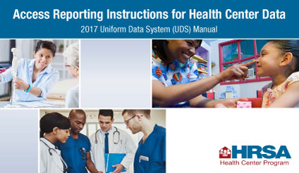 * Image Alt Text: Access reporting instructions for health center data. 2017 Uniform Data System (UDS) Manual Now Available. Images: doctor explaining something to a patient using a skeleton; pediatrician examining a child; doctor group discussion.